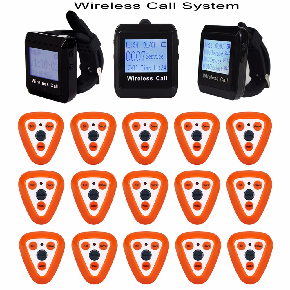 Restaurant Wireless Calling System with 15pcs Call Transmitter Button Pager +3pcs Watch Receiver 433MHz F3306Q 433mhz restaurant pager wireless calling paging system watch wrist receiver host 10pcs call transmitter button pager f3255c