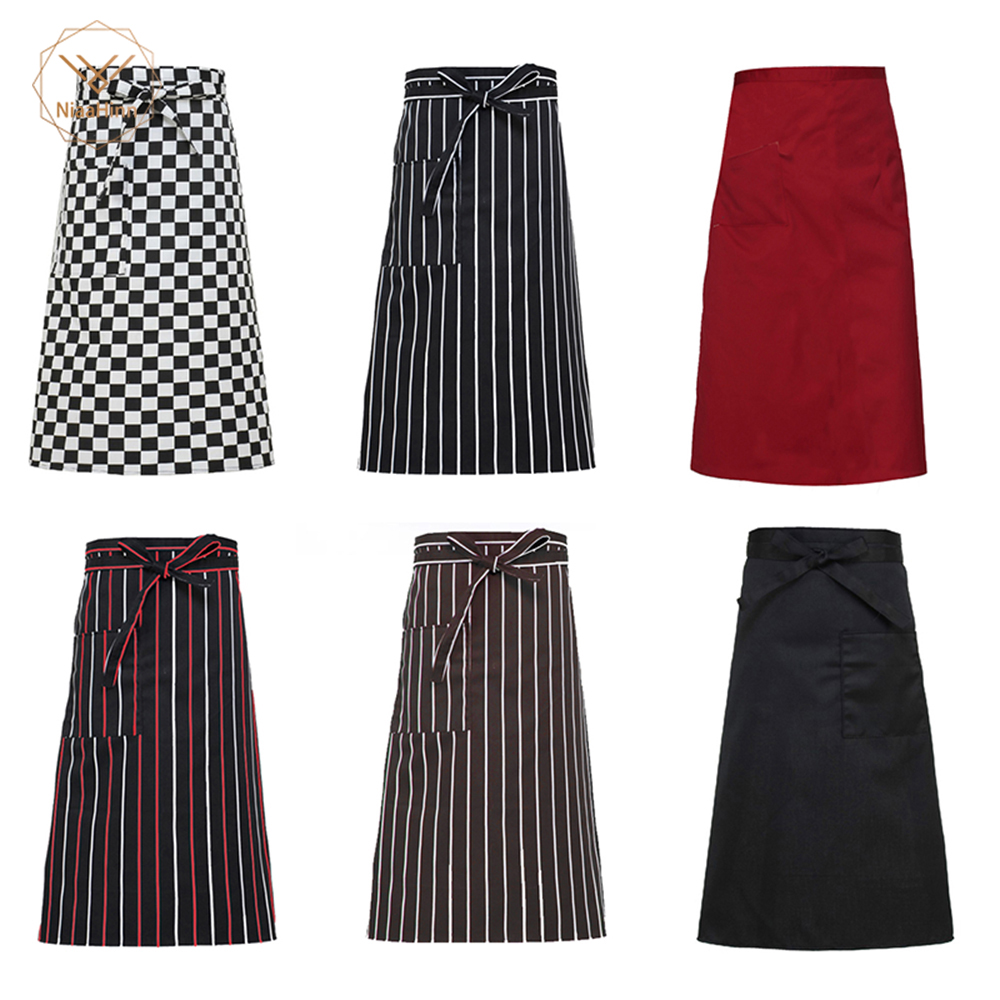 2019 Chef Aprons Classic Print High Quality Kitchen Hotel Coffee Shop Bakery Waiter Aprons Cook Work Wear Chef Uniforms Hot Sale