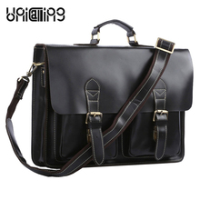 UniCalling classic vintage hasp cover men leather handbag premium quality genuine leather men laptop bag shoulder bag men tote
