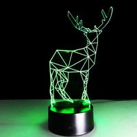 Small Deer 3D Optical Illusion LED Table Night Light Remote Control USB Cable Battery Operated Desk