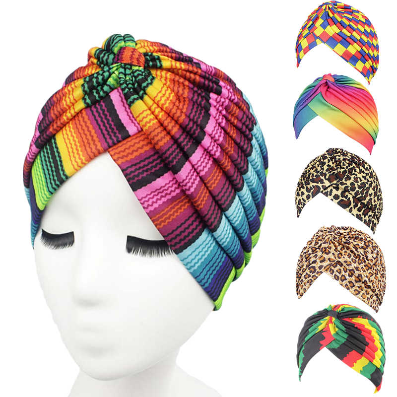 Feminino arco-íris impressão câncer quimio chapéu beanie cachecol turbante casual cabeça envoltório boné turbante mujer