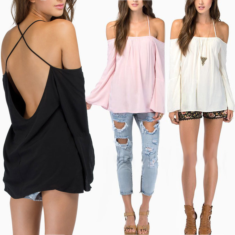 2019 Sexy Women Backless Long Sleeve Shirt Fashion Lady Strapless Thin Strap Cross Casual Loose Chiffon Blouse Tops