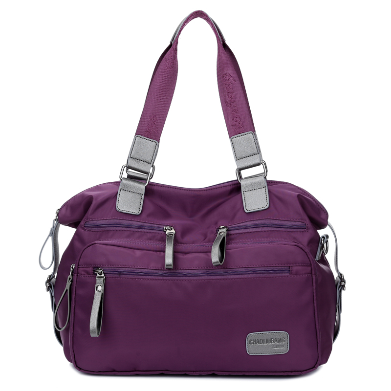new brand women fashion korean ruched nylon & pu tote bag lady high quality designer purple handbag woman sac a main