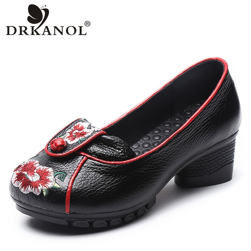 DRKANOL Spring Autumn Shallow Pumps Women High Heels Shoes Embroider Genuine Leather Women Thick Heels Shoes Black Blue Red