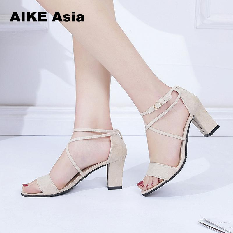 2018 Summer Women Sandals Open Toe Womens Sandles Thick Heel Women Pumps Shoes Korean Style Gladiator Shoes High heel #a-8 ...