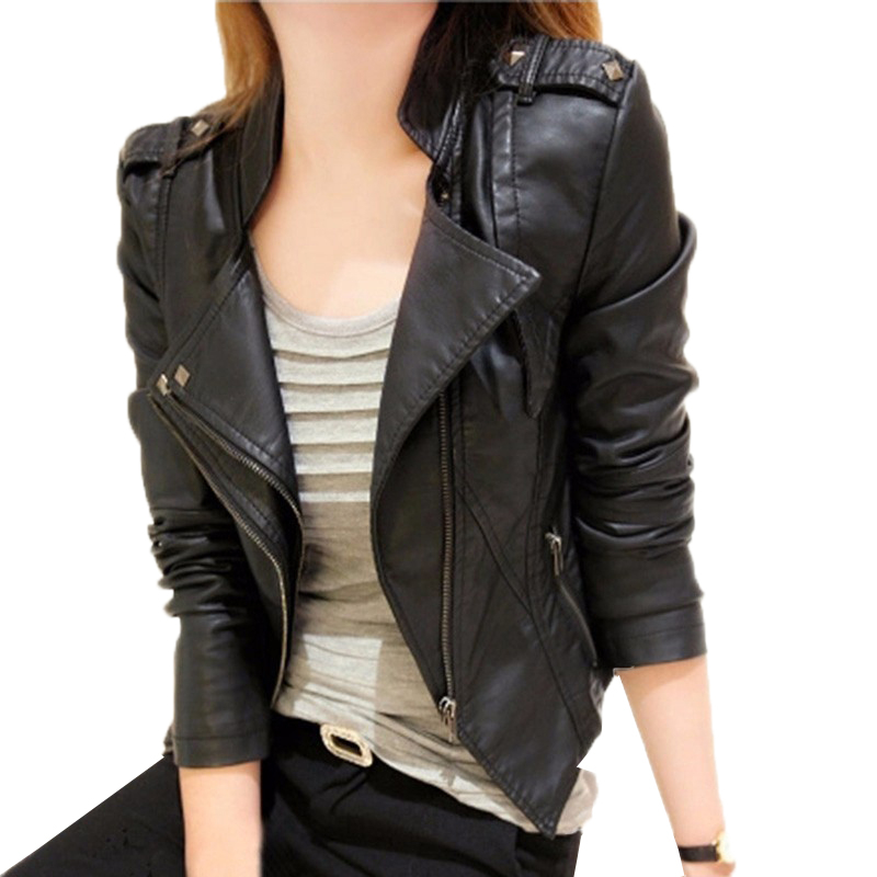 Women 2018 New Autumn Winter PU   Leather   Jacket Female Faux Soft   Leather   Coat Slim Black Rivet Zipper Motorcycle Outwear O428