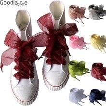 4 см широкие шифоновые Шнурки плоские ленточные шнурки для обуви для кроссовок спортивная обувь 140 см/55 дюймов