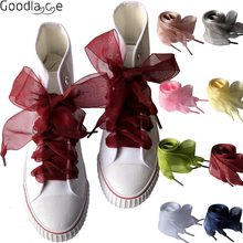 4cm de largura chiffon cadarços de sapato de fita plana para tênis esporte sapatos 140cm/55 Polegada