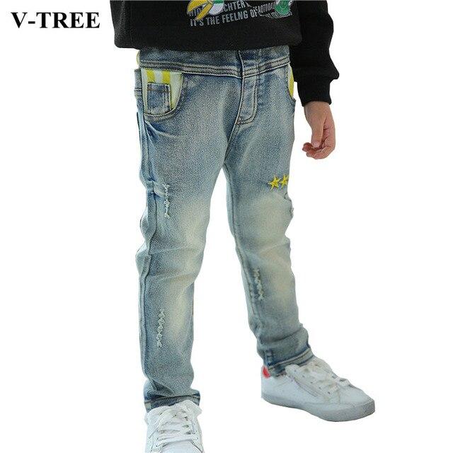 V-TREE Мальчиков Джинсы Хлопок Звезды Джинсы Для Мальчиков Весной И Осенью детские Брюки Одежда Для Детей Мальчики Разорвал джинсы