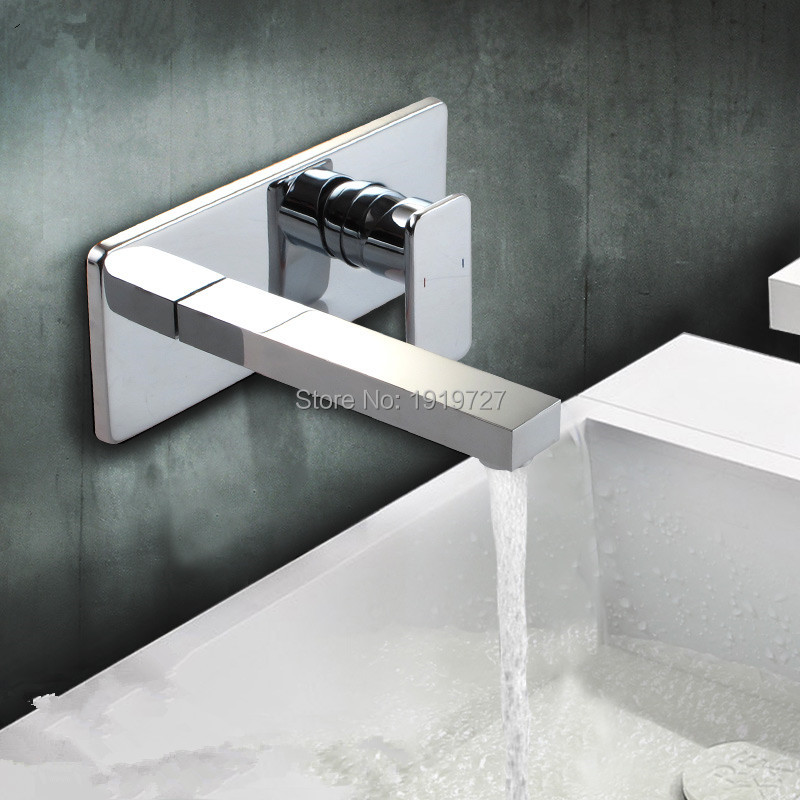 New Chrome Square Style Bath Basin Tap 100% Brass Mixer Waterfall Wall Mounted Faucet Wash Tub With In Wall Box