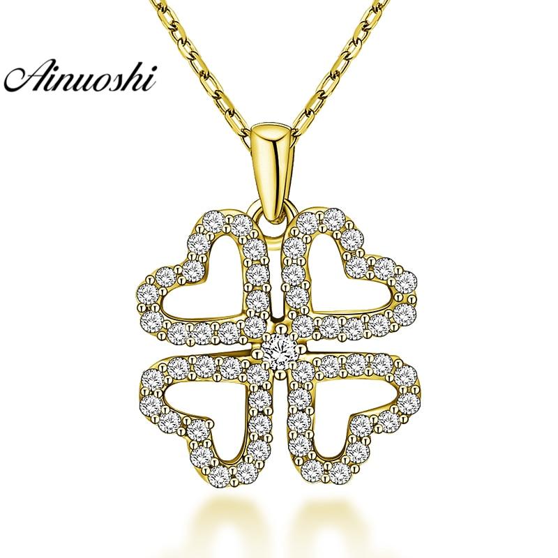 AINUOSHI 10K Solid Yellow Gold Pendant Cute Snowflake Pendant SONA Diamond Heart Design Women Men Gold Jewelry Separate Pendant cute snowflake hairpin for women