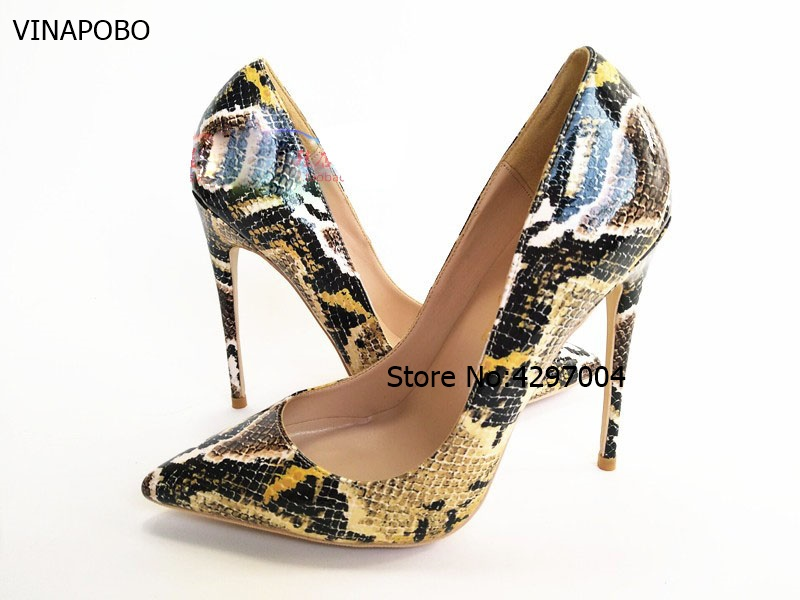 Hot Selling New Snake Print Leather Pointed Toe Blade Heel Pumps Sexy Python Stilettos Heel Women