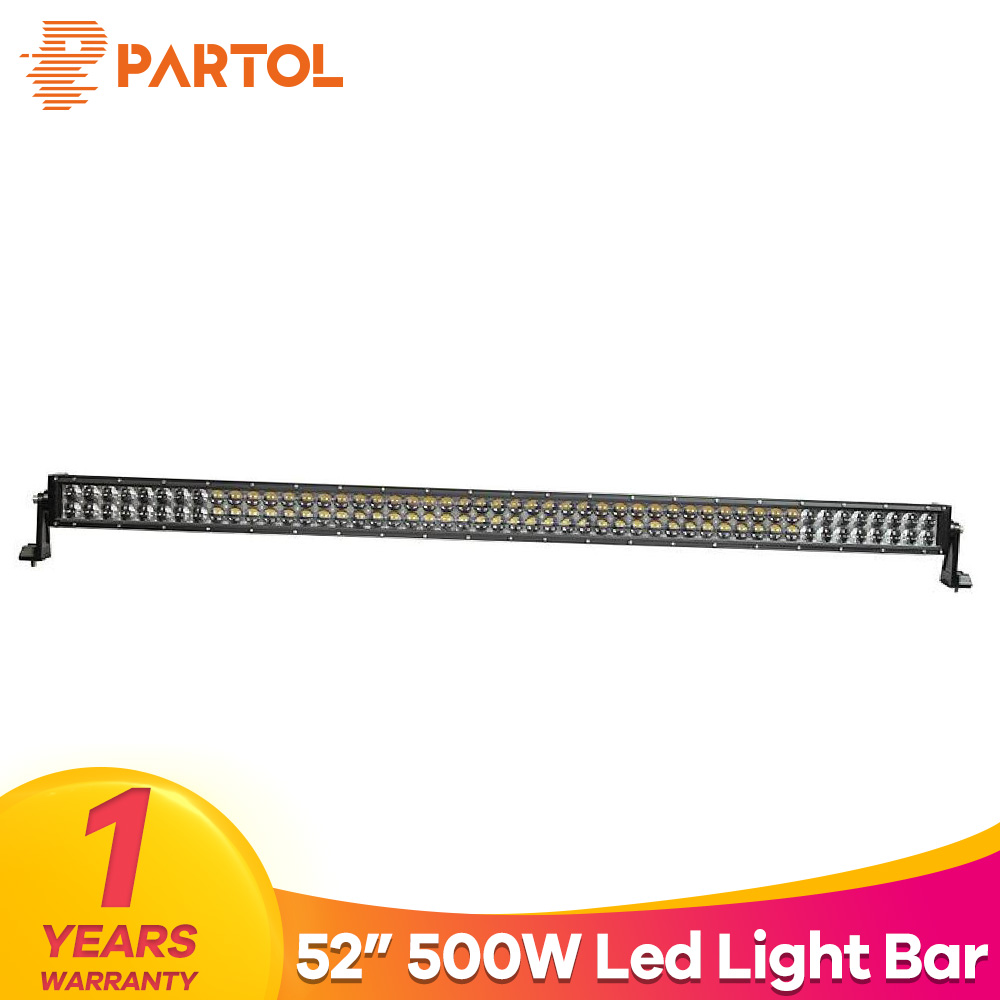 Partol 4D 52 500W Straight LED Light Bar Offroad Led Work Light Driving Lamp Flood Spot Combo Beam For ATV SUV 4x4 4WD Golf 12V
