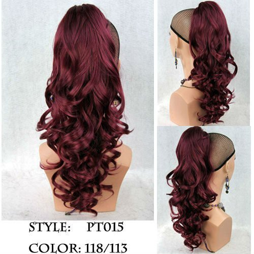22quot long dark red ponytail hairpiece extension wavy claw