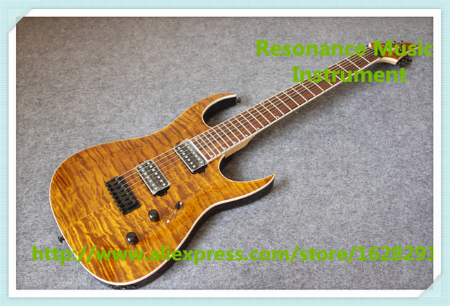 Cheap Hot Selling 7 String Brown Quilted Finish Jackson Electric Guitars With Black Hardwares For Sale