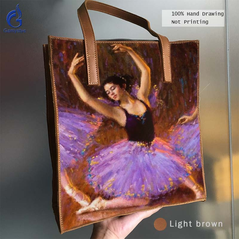 цена на Art Hand Drawing Ballet dance Girl Totes Grain Cowhide Leather Bag Handbags Women Handbag Genuine Leather Oil Painted Print Gift