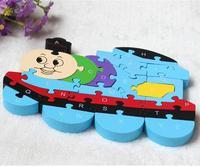 英字おもちゃ頭脳ラブリー木製パズル3dパズル教育子供木製のおもちゃトーマス列車