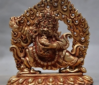 5 Tibet Buddhism Bronze 24k Gold Mahakala Vajrapani Tantra Dorje Buddha Statue