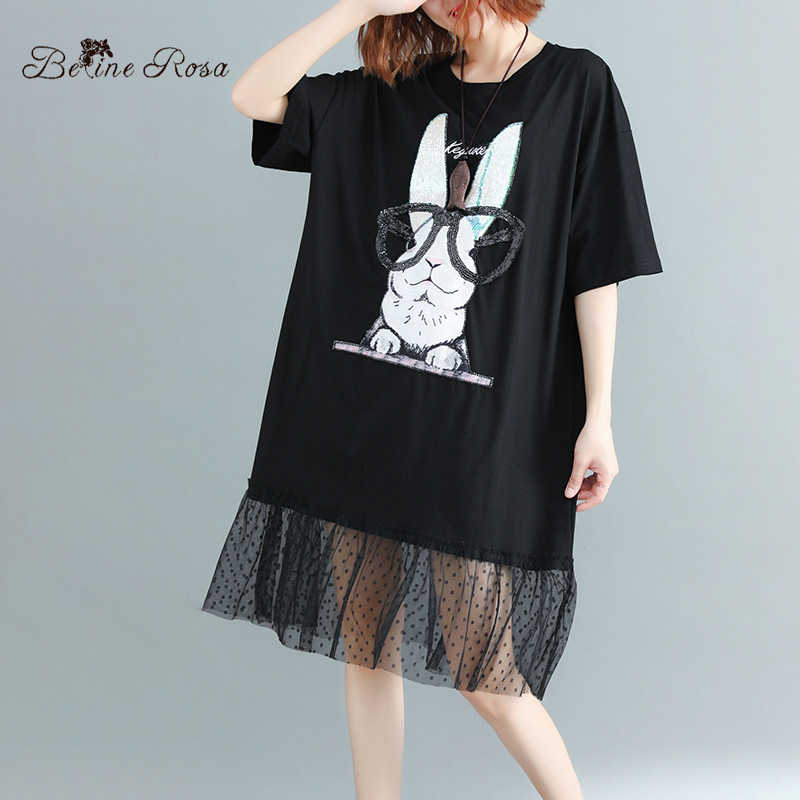 BelineRosa Kawaii Korean Style Cute Rabbit Printing Black Tunic Dress Mesh Casual Loose XL XXL 3XL T-shirt Dress  72B00027