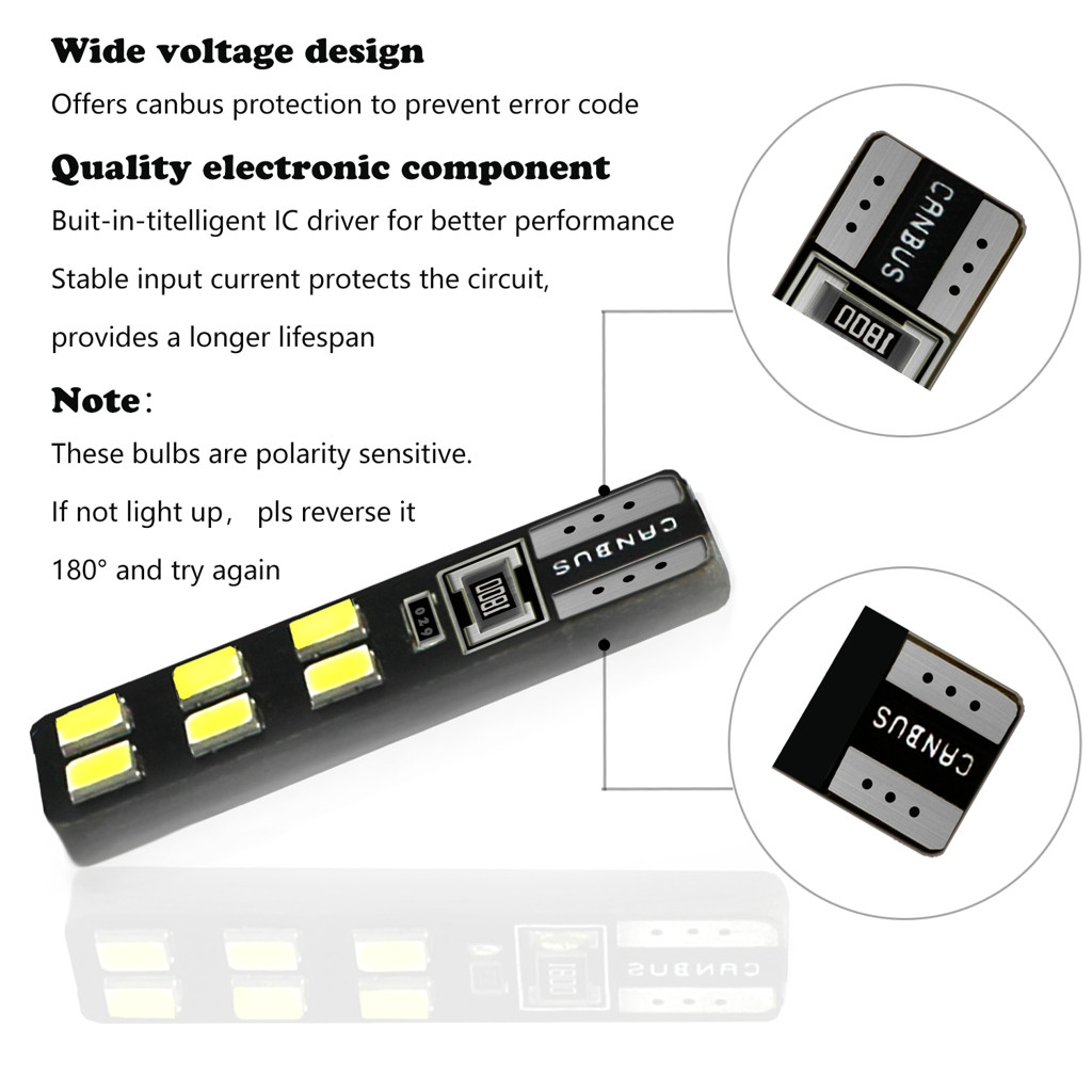 Image 5 - LED Light Bulbs For Cars 2Pieces T10 5630 12SMD High Power Car Wedge License Plate LED Light Bulbs Width Reading Panel Lights-in Signal Lamp from Automobiles & Motorcycles