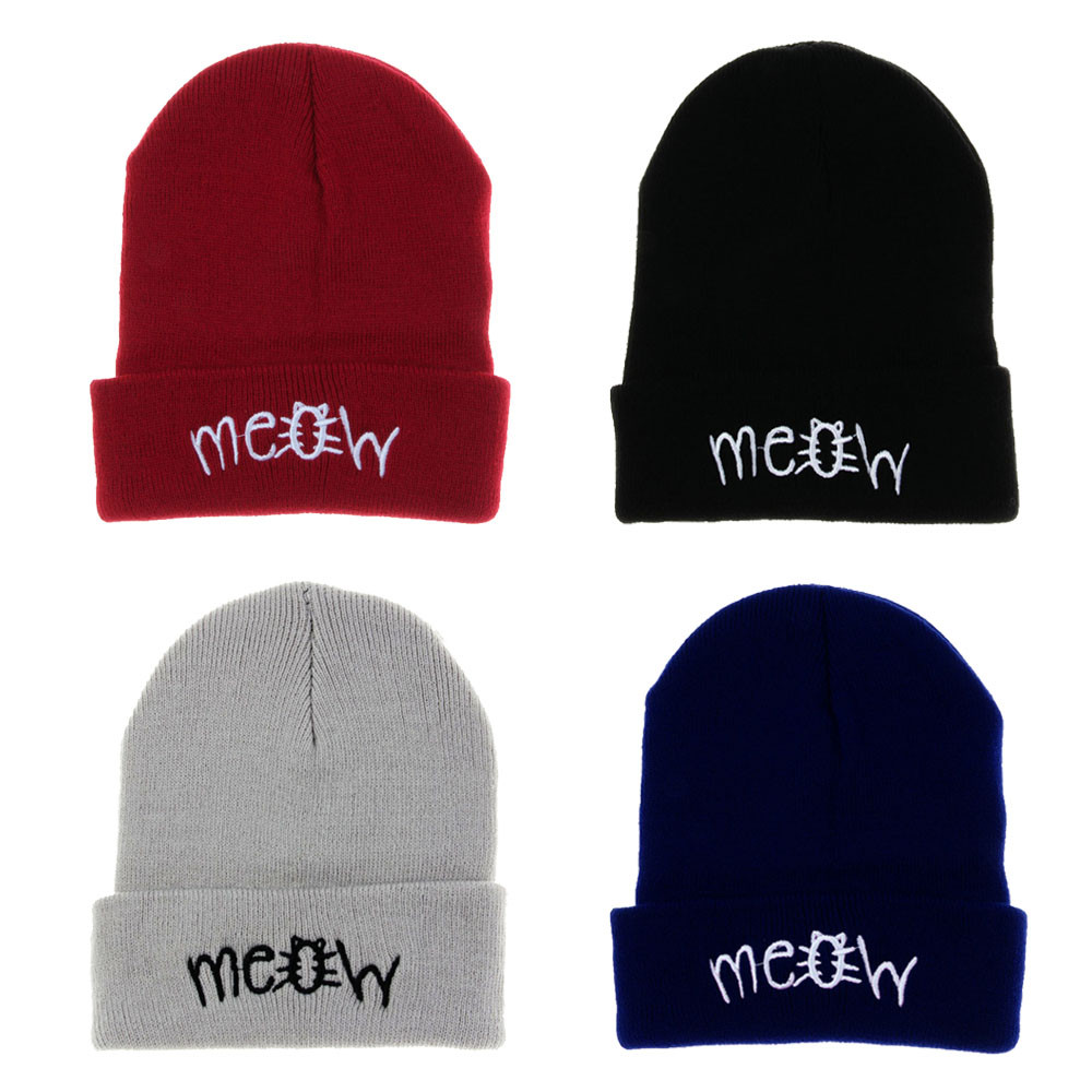 Fashion MEOW Cap Men Casual Hip-Hop Hats Knitted Wool Skullies Beanie Hat Warm Winter Hat for Women Drop Shipping KZ852 2016 New руфанова е сост фаршированные овощи