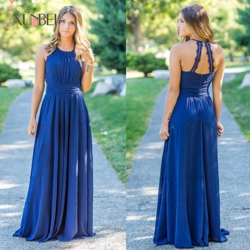 Xunbei Custom Made   Bridesmaid     Dress   Halter Sleeveless Floor Length Long Wedding Party   Dress   Draped Backless 96Wedding Gowns