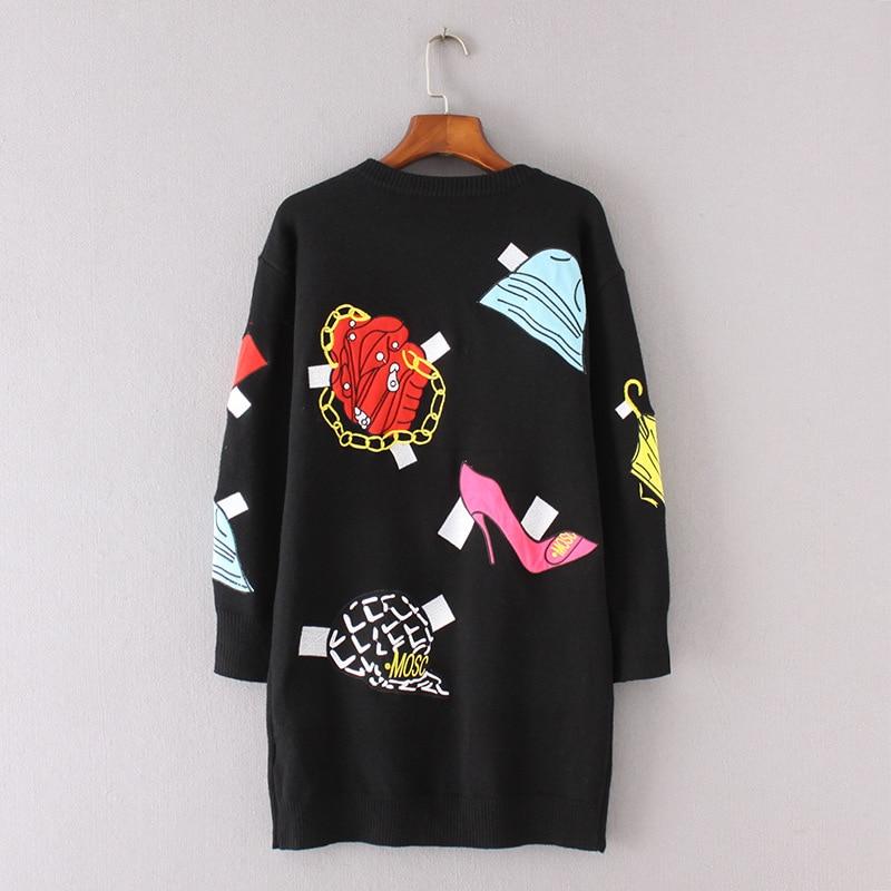 Suéter Tops Pista Invierno Guantes De Cálido Elegante Las Jerseys Mujeres Marca Lujo Alto Tacón Black Diseño Punto Gafas Zapatos Suelto La Bordado 5fqqw