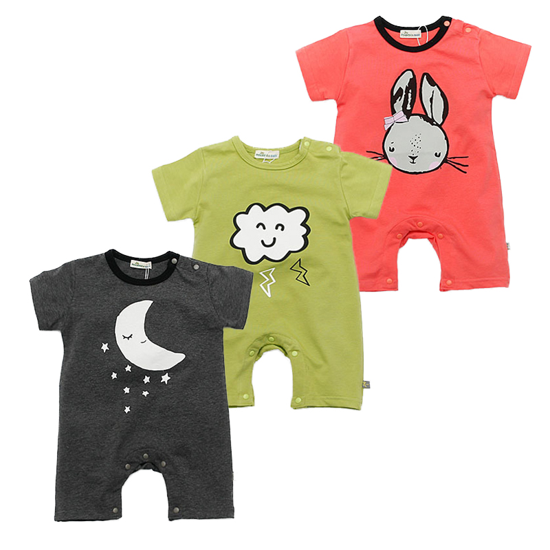 Brand Baby Rompers Short Sleeve Cotton Baby Boy Girl Rompers Black Moon Newborn Jumpsuit Infant Summer Clothing Cute Costumes 2016 summer short sleeve baby boy sailor suit jumpsuit infant clothing navy newborn baby rompers