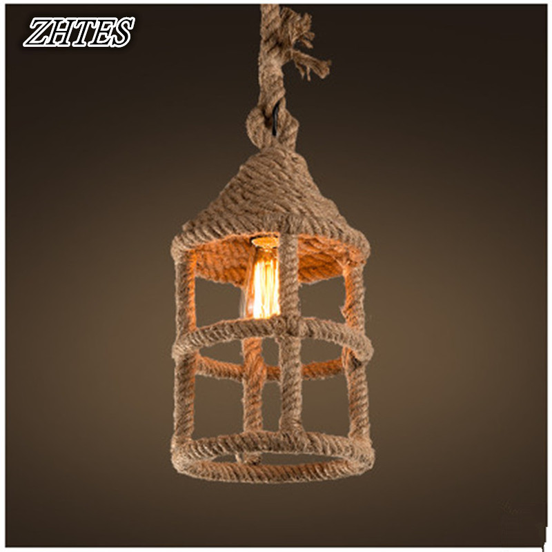 Nordic Pastoral Hemp Rope Chandelier Loft Iron Retro Lamp Bar Cafe Living Room Chandelier rural pastoral creative restaurant cafe personality wrought iron rope chandelier lamp internet cafe bar loft hemp rope lamp