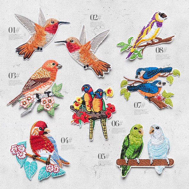 New 10pcs Bird embroidered cloth patch stickers small lace patch fabric  clothes Fill holes stickers adhesive