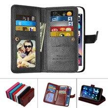PU Leather Magnetic Durable 9 Cards Slots Flip Wallet Case For Huawei P8 P9 P10 Lite Plus P8Lite P9Lite P10Lite Fundas Cover