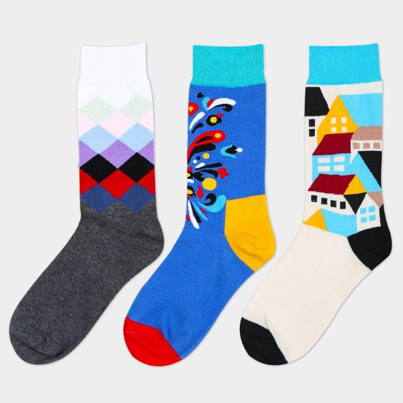 Underwear & Sleepwears Mens Socks Combed Cotton Cartoon House Gradient Blue Fireworks Mens Business Dress Crew Male Socks Wedding Gift Socks 3 Pairs High Quality And Inexpensive