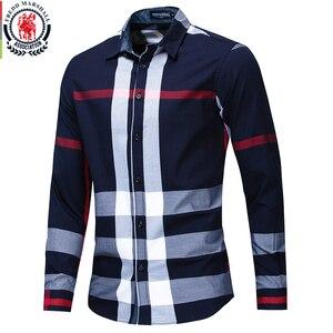 Image 3 - Fredd Marshall koszula męska 2019 letnia moda koszula w kratę mężczyźni z długim rękawem Casual Slim dopasowane koszule 100% bawełna koszulka Homme 199