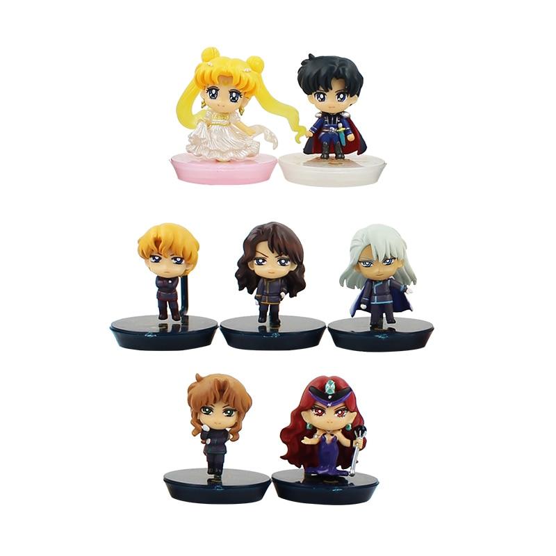 7pcs/lot Sailor Moon Figure Toy Tsukino Usagi Pretty Guardian Sailor Moon Dark Kingdom Model Doll Children Gift