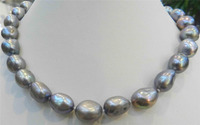 Selling Jewelry>>>LARGE 12 14MM SILVER GRAY REAL BAROQUE CULTURED PEARL NECKLACE 18KGP CRYSTAL