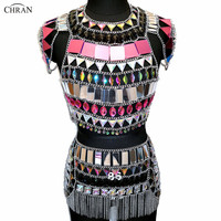 AB Iridescent Nightclub Party Crop Tops EDM Chain Bra Rave Skirt Set Bikini Dress Festival Outfit Burning Man Wear Party Jewelry