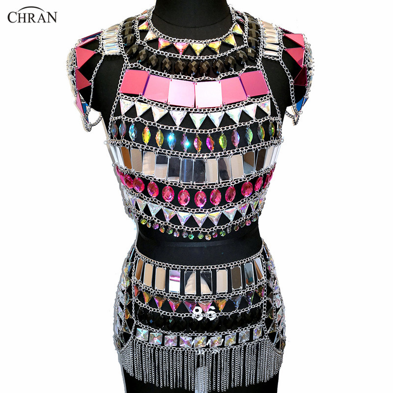 Chran Nightclub Party Crop Tops EDM Chain Rave Skirt Harness Necklace Beach Bra Bralette Bikini Dress Festival Jewelry CRS439 chran ibiza chain bra belly waist skirt harness necklace women beach bralette coachella party wear edm festival jewelry crbj905
