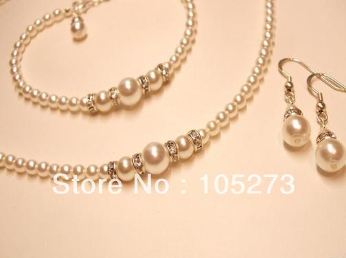 Whole Handmade Pearl Jewelry Set Natural White Diamante Necklace Bracelet Earrings Bridal Jewellery New Free