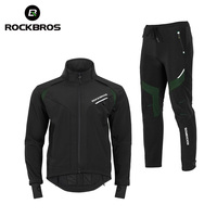 ROCKBROS Cycling Bike Bicycle Long Sleeve Jacket Pant Sets Winter Thermal Fleece Jersey Windproof Reflective Sportswear