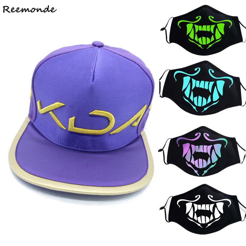 Apparel Accessories Game Lol K/da Kda Akali Assassin Cosplay Hat Caps Mask S8 Face Mask Night Lights Cosplay Props Masks Luminous Girls Boys Gifts Latest Fashion