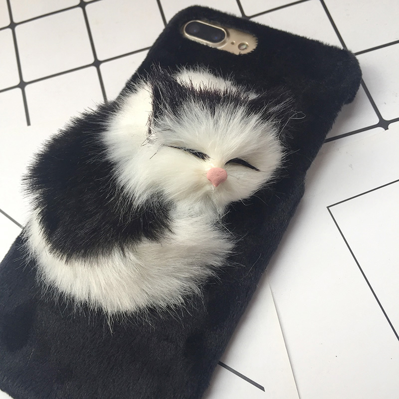 Lovely DIY Cat Furry Warm Phone Cases For iPhone X 8 Plus Hard PC Plush hair Fur Cover for iPhone 6 6S Plus 7 8 Christmas Gift (6)