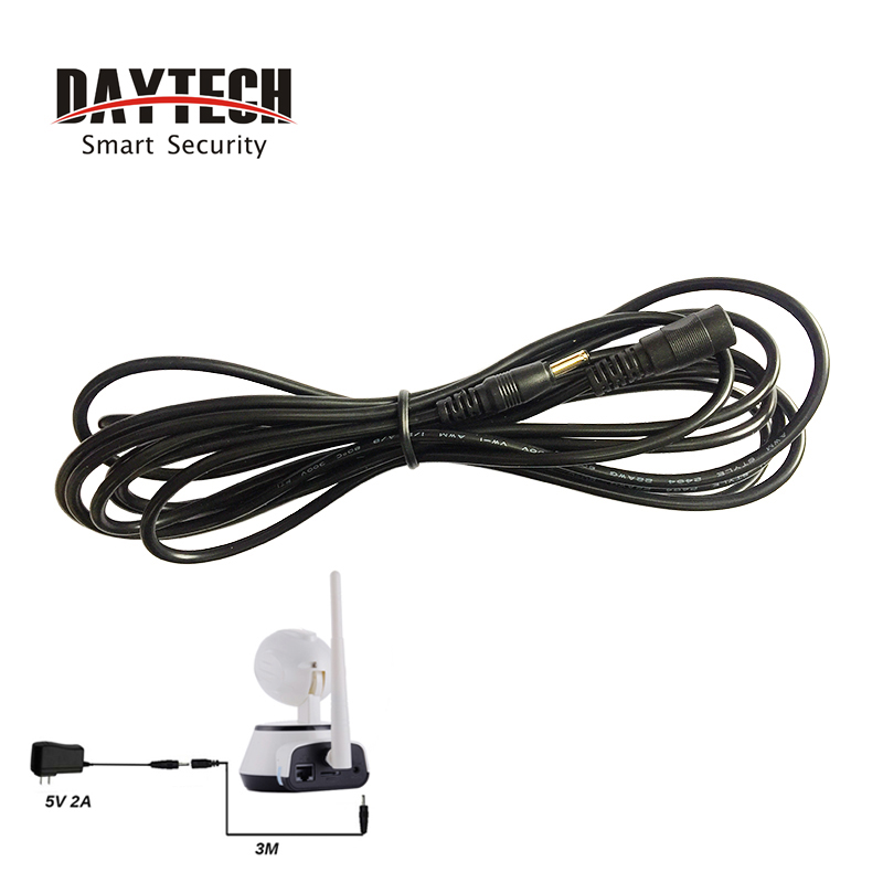 DAYTECH WiFi IP Cámara adaptador de corriente enchufe 3 Metro extensión Cable 5 V 2A 3,5mm adaptador de corriente cable extensible
