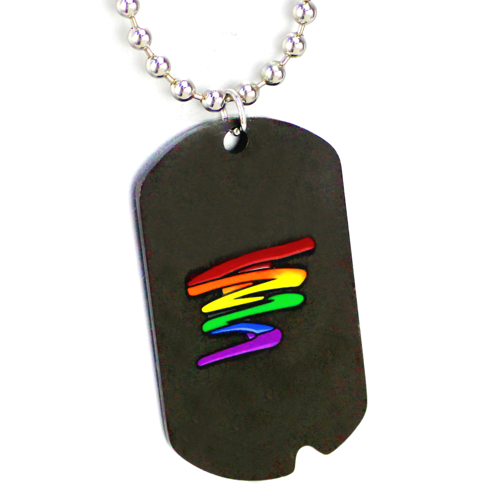 Keychain Rainbow Gay//Lesbian Proud MOM 2-Sided Color Photo Dog Tag Necklace