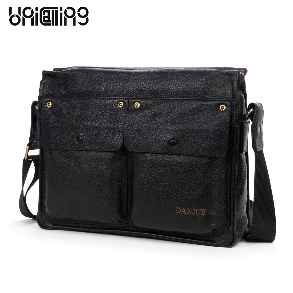 Classic horizontal 2 front exterior cover pockets brand men leather messenger bag Top layer cow leather men shoulder bagClassic horizontal 2 front exterior cover pockets brand men leather messenger bag Top layer cow leather men shoulder bag