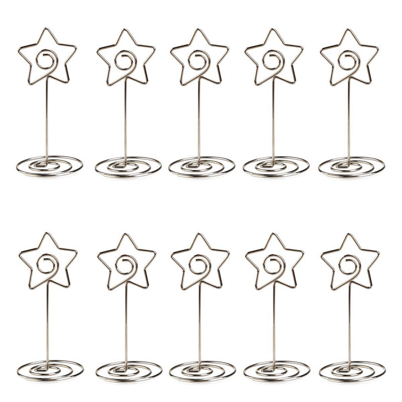 10pcs Metal Star Table Number Photo Holder Stands For Weddings Party Gatherings