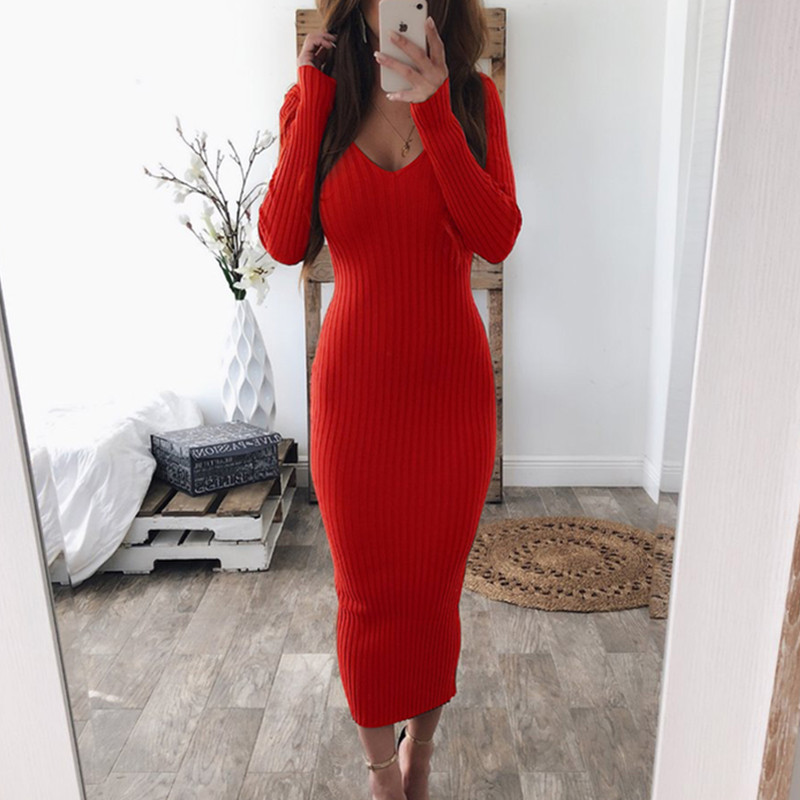 Autumn Knitted Bodycon Maxi <font><b>Dress</b></font> <font><b>Casual</b></font> <font><b>Sexy</b></font> V Neck Long <font><b>Sleeve</b></font> Women Elegant <font><b>Winter</b></font> Slim Fashion Long <font><b>Dresses</b></font> Thin <font><b>Dress</b></font> 2019 image
