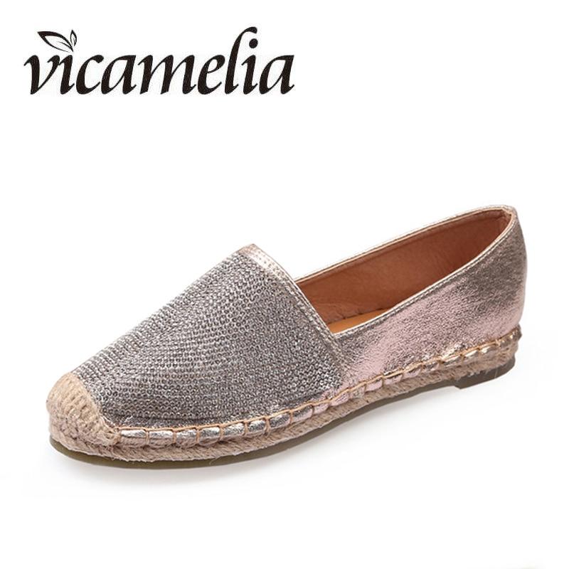 Vicamelia Woman Causal Shoes Comfortable Slip On Flats Bling Women Loafers Hemp Straw Fisherman Flat Heel Shoes Espadrilles 156