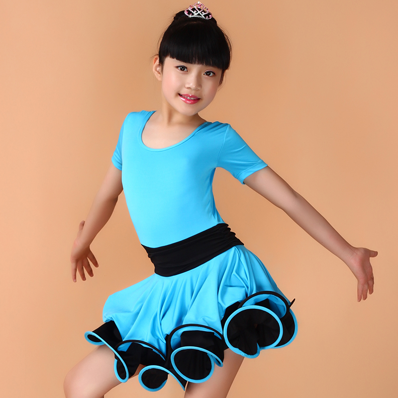 Sky Blue/Red/Black 90-160cm Children Latin Ballroom Dress Vetement Enfant One Pieces Girl Kids Costume Robe Danse Latine Femme