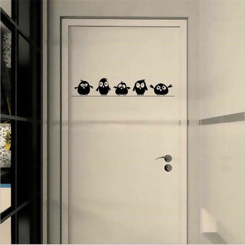 Sevimli Küçük Kuşlar Tel duvar çıkartmaları Kapı Çıkartmaları Çocuk Odası Oturma Odası Sanat Çıkartmaları Karikatür Hayvan Su Geçirmez Vinil