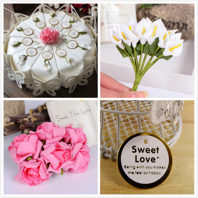 100pcs 10 Cakes 26cm White Cake Style Wedding Favors Candy Bo Calla Lily